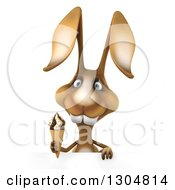 Clipart Of A 3d Brown Bunny Rabbit Holding A Waffle Ice Cream Cone Over A Sign Royalty Free Illustration by Julos