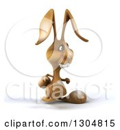 Clipart Of A 3d Brown Bunny Rabbit Walking To The Right Royalty Free Illustration by Julos