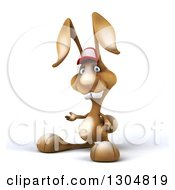 Clipart Of A 3d Brown Bunny Rabbit Wearing A Baseball Cap And Presenting To The Left Royalty Free Illustration by Julos