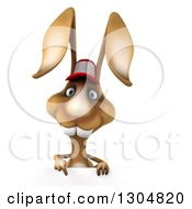 Clipart Of A 3d Brown Bunny Rabbit Wearing A Baseball Cap And Pointing Down Over A Sign Royalty Free Illustration by Julos