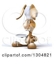 Clipart Of A 3d Brown Bunny Rabbit Chef Facing Left And Holding A Plate Royalty Free Illustration by Julos