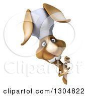 Clipart Of A 3d Brown Bunny Rabbit Chef Pointing Around A Sign Royalty Free Illustration by Julos