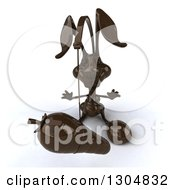 Clipart Of A 3d Dark Chocolate Easter Bunny Rabbit Chasing A Carrot On A Stick Royalty Free Illustration by Julos