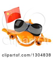 Clipart Of A 3d Orange Airplane Wearing Sunglasses Giving A Thumb Up And Holding A Chinese Flag Royalty Free Illustration