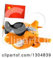 Clipart Of A 3d Orange Airplane Wearing Sunglasses And Flying To The Left With A Chinese Flag Royalty Free Illustration