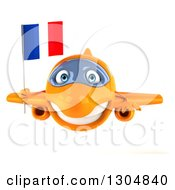 Clipart Of A 3d Happy Orange Airplane Holding A French Flag Royalty Free Illustration
