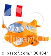 Clipart Of A 3d Happy Orange Airplane Flying To The Left And Holding A French Flag Royalty Free Illustration