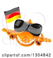 Clipart Of A 3d Happy Orange Airplane Wearing Sunglasses Giving A Thumb Up And Flying With A German Flag Royalty Free Illustration
