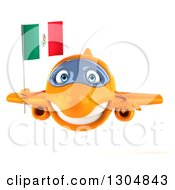 Clipart Of A 3d Orange Airplane Flying With A Mexican Flag Royalty Free Illustration