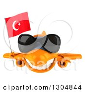 Clipart Of A 3d Happy Orange Airplane Wearing Sunglasses And Flying With A Turkey Flag Royalty Free Illustration