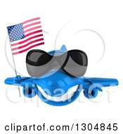 Clipart Of A 3d Happy Blue Airplane Wearing Sunglasses And Flying With An American Flag Royalty Free Illustration