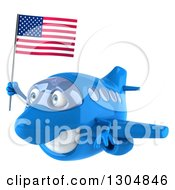 Clipart Of A 3d Happy Blue Airplane Flying To The Left With An American Flag Royalty Free Illustration