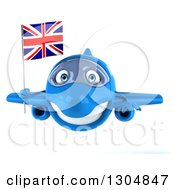 Clipart Of A 3d Blue Airplane Flying With A British Flag Royalty Free Illustration