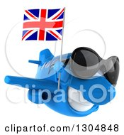 Clipart Of A 3d Blue Airplane Wearing Sunglasses And Flying To The Right With A British Flag Royalty Free Illustration