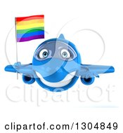Clipart Of A 3d Happy Blue Airplane Flying With A LGBT Rainbow Flag Royalty Free Illustration