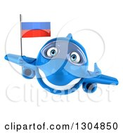 Clipart Of A 3d Happy Blue Airplane Giving A Thumb Up And Flying With A Russian Flag Royalty Free Illustration
