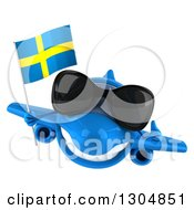 Clipart Of A 3d Happy Blue Airplane Wearing Sunglasses Giving A Thumb Up And Flying With A Swedish Flag Royalty Free Illustration