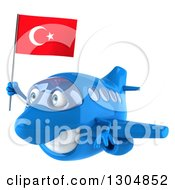 Clipart Of A 3d Happy Blue Airplane Flying Left With A Turkey Flag Royalty Free Illustration