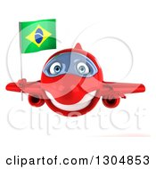 Clipart Of A 3d Happy Red Airplane Holding A Brazilian Flag Royalty Free Illustration