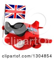 Clipart Of A 3d Red Airplane Wearing Sunglasses And Flying To The Left With A British Flag 2 Royalty Free Illustration