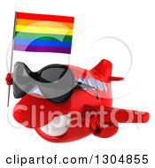 Clipart Of A 3d Happy Red Airplane Wearing Sunglasses And Flying To The Left With A LGBT Rainbow Flag Royalty Free Illustration