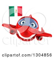 Clipart Of A 3d Red Airplane Giving A Thumb Up And Flying With A Mexican Flag Royalty Free Illustration