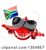 Clipart Of A 3d Red Airplane Wearing Sunglasses Giving A Thumb Up And Flying With A South African Flag Royalty Free Illustration