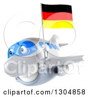 Clipart Of A 3d Happy White Airplane Flying To The Left With A German Flag 2 Royalty Free Illustration