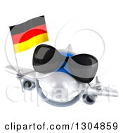 Clipart Of A 3d Happy White Airplane Wearing Sunglasses Giving A Thumb Up And Flying With A German Flag Royalty Free Illustration