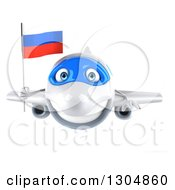Clipart Of A 3d Happy White Airplane Flying With A Russian Flag Royalty Free Illustration