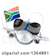 Clipart Of A 3d White Airplane Wearing Sunglasses Giving A Thumb Up And Flying With A South African Flag Royalty Free Illustration