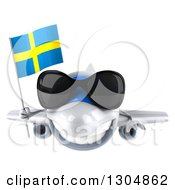 Clipart Of A 3d Happy White Airplane Wearing Sunglasses And Flying With A Swedish Flag Royalty Free Illustration