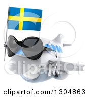 Clipart Of A 3d Happy White Airplane Wearing Sunglasses Facing Left And Flying With A Swedish Flag Royalty Free Illustration