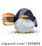 Clipart Of A 3d Penguin Holding A Double Cheeseburger Royalty Free Illustration