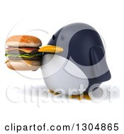 Clipart Of A 3d Penguin Facing Left And Holding A Double Cheeseburger Royalty Free Illustration