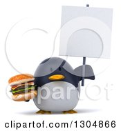 Clipart Of A 3d Penguin Holding A Double Cheeseburger And A Blank Sign Royalty Free Illustration