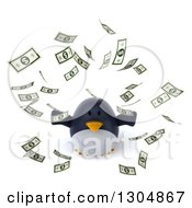Clipart Of A 3d Penguin Looking Up And Making It Rain Money Royalty Free Illustration