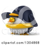 Clipart Of A 3d Penguin Facing Left Pointing And Wearing A Duck Inner Tube Royalty Free Illustration