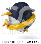 Clipart Of A 3d Penguin Facing Left And Flying In A Duck Inner Tube Royalty Free Illustration
