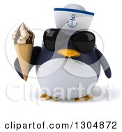 Clipart Of A 3d Sailor Penguin Wearing Sunglasses And Holding A Waffle Ice Cream Cone Royalty Free Illustration by Julos