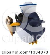 Clipart Of A 3d Sailor Penguin Wearing Sunglasses Facing Left Flying And Holding A Waffle Ice Cream Cone Royalty Free Illustration by Julos