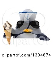 Clipart Of A 3d Sailor Penguin Wearing Sunglasses And Holding A Waffle Ice Cream Cone Over A Sign Royalty Free Illustration by Julos
