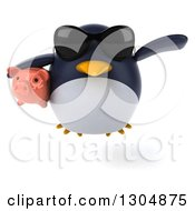 Clipart Of A 3d Penguin Wearing Sunglasses And Flying With A Piggy Bank Royalty Free Illustration