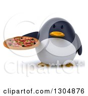 Clipart Of A 3d Penguin Holding A Pizza Royalty Free Illustration