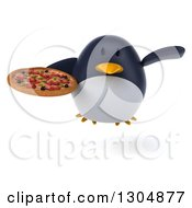 Clipart Of A 3d Penguin Flying And Holding A Pizza Royalty Free Illustration