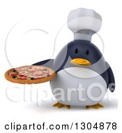 Clipart Of A 3d Penguin Chef Holding A Pizza Royalty Free Illustration