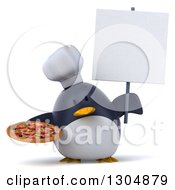 Clipart Of A 3d Penguin Chef Holding A Pizza And A Blank Sign Royalty Free Illustration
