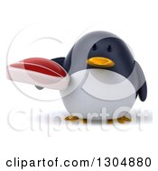 Clipart Of A 3d Penguin Holding A Beef Steak Royalty Free Illustration