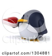Clipart Of A 3d Penguin Facing Left And Holding A Beef Steak Royalty Free Illustration