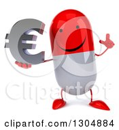 Clipart Of A 3d Happy Red And White Pill Character Holding Up A Finger And A Euro Symbol Royalty Free Illustration